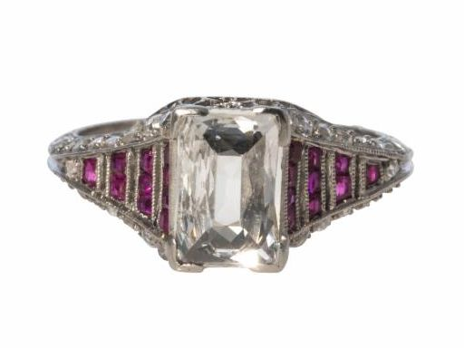 Art Deco Diamond and Ruby Platinum Filigree Ring