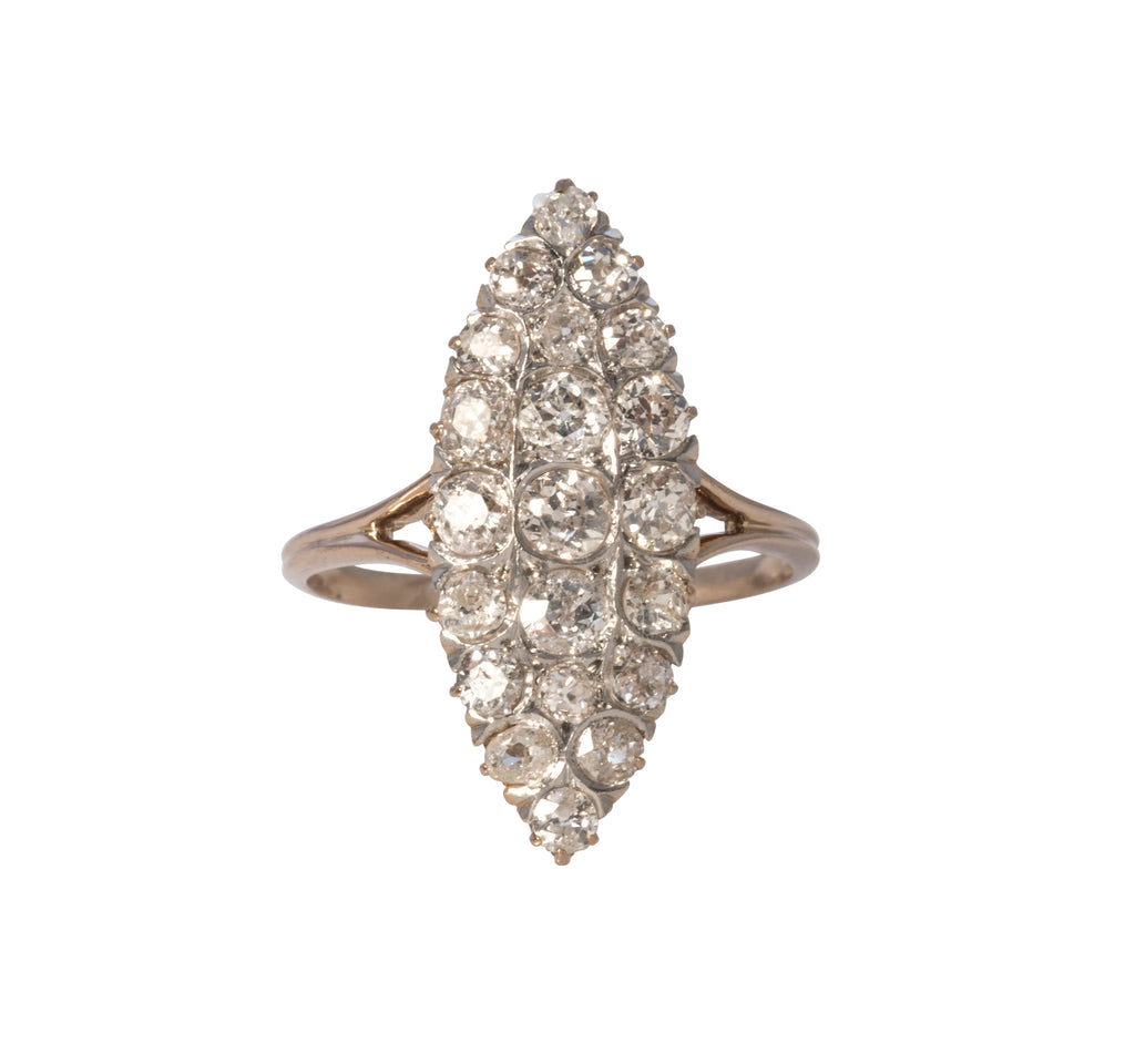 Estate & Antique Victorian Diamond Cluster Marquise Ring
