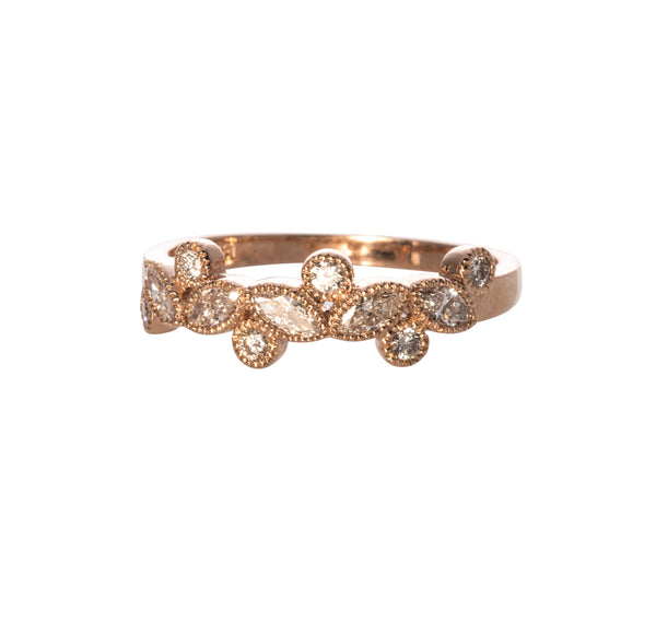 Marquise and Round Diamond Halfway Band