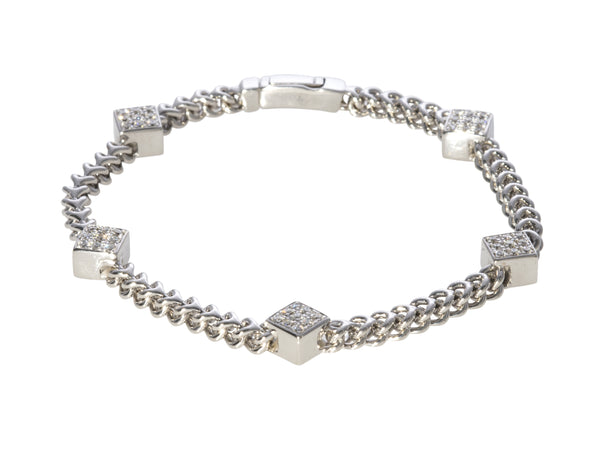Diamond 5-Station Braided Link Bracelet