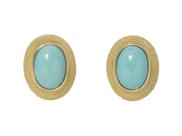 Oval Turquoise Gold Rope Earrings