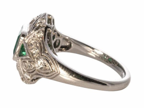 Emerald and Diamond Deco Style Ring