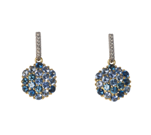 Diamond & Sapphire Mosaic Drop Earrings