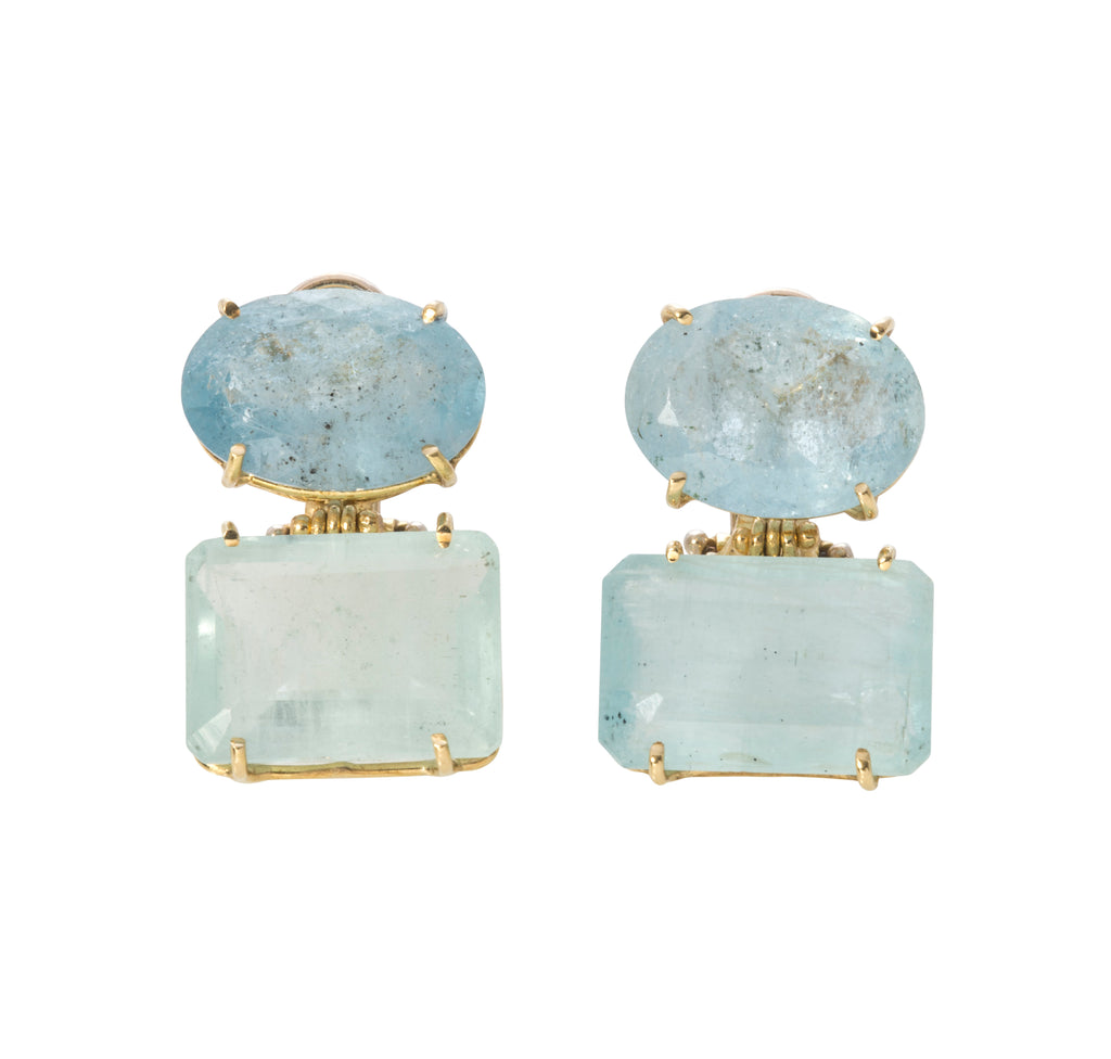 Italian Double Aquamarine Earrings