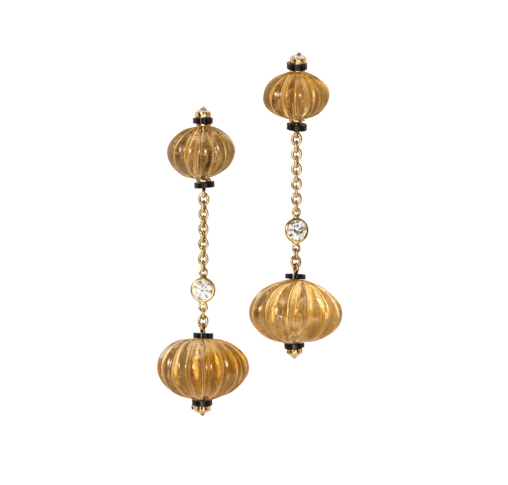 Estate Onyx, Diamond & Citrine Bauble Drop Earrings