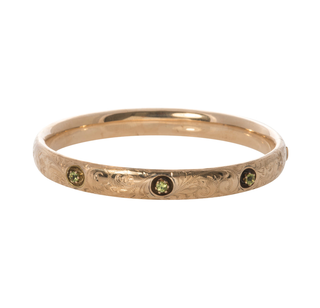 Art Nouveau Peridot & Gold Bangle
