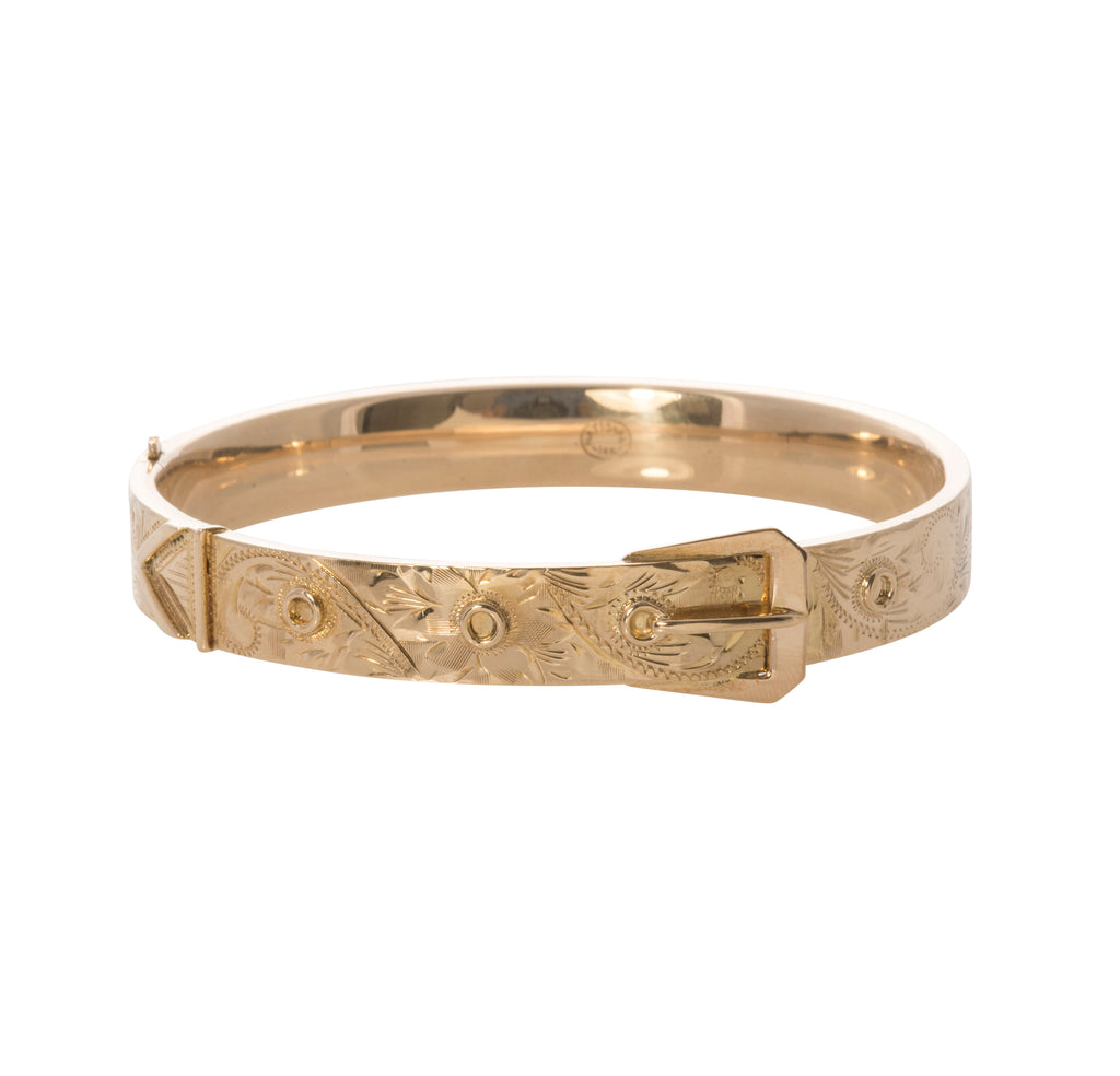 Victorian Gold Buckle Bangle Bracelet