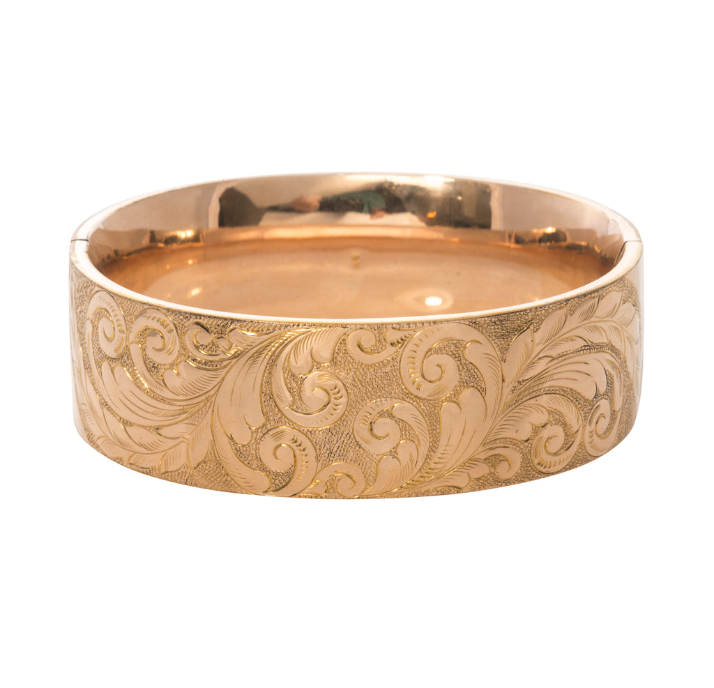 Estate Antique Wide Gold-Filled Bangle Bracelet