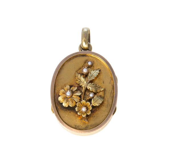 Victorian Floral Pearl Mourning Locket