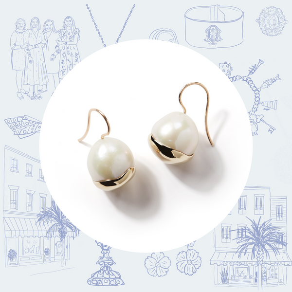 Mizuki White Pearl and Fluid Gold Wire Earrings