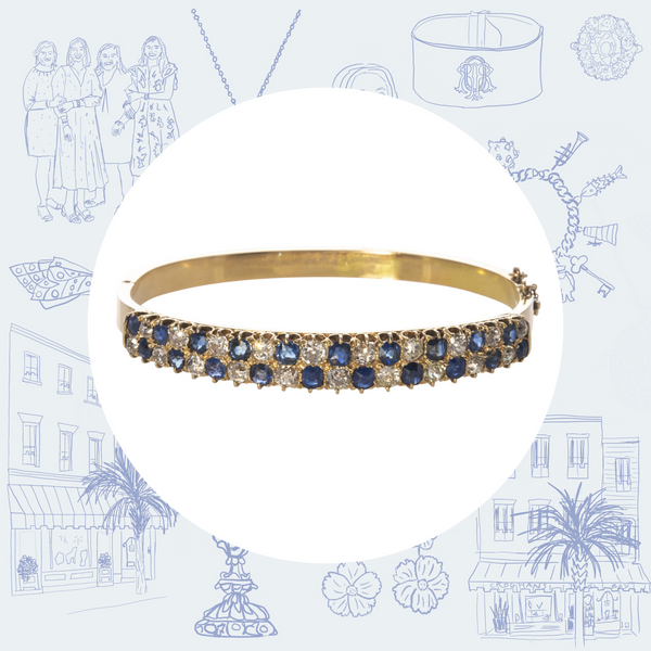 Victorian Sapphire Diamond and 14K Gold Bangle