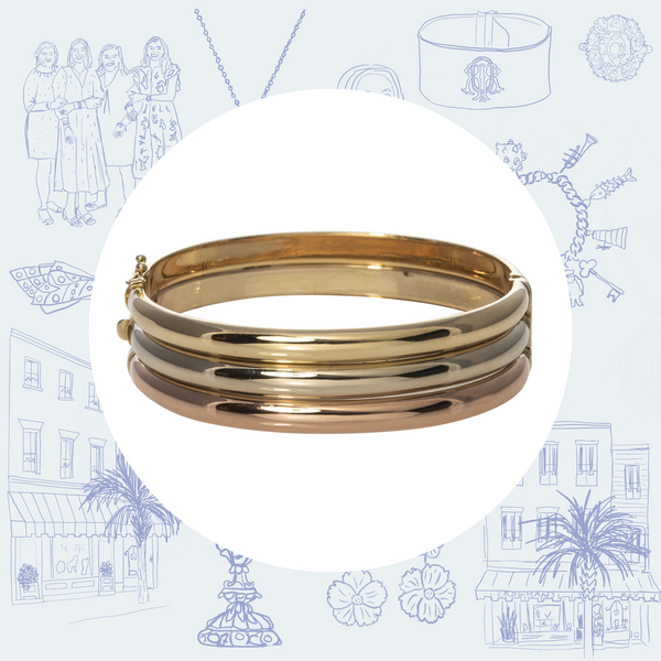 Estate 14K Tri-Color Gold Bangle