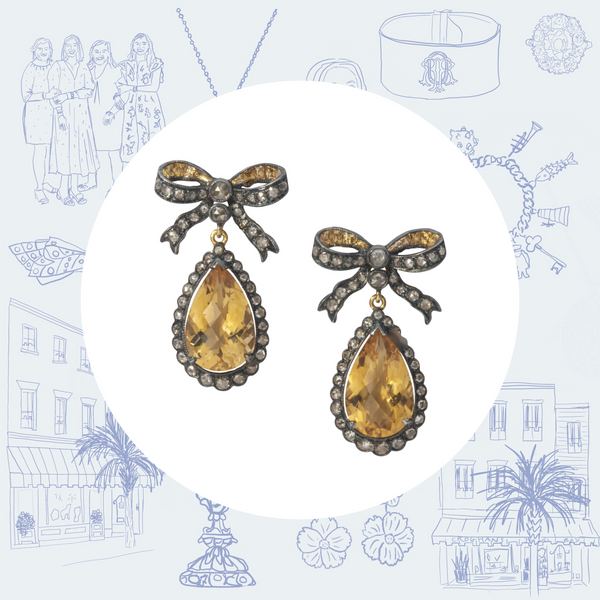 Edwardian Repro Citrine and Diamond Bow Earrings