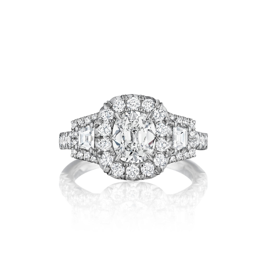 Henri Daussi Cushion Diamond Halo Engagement Ring