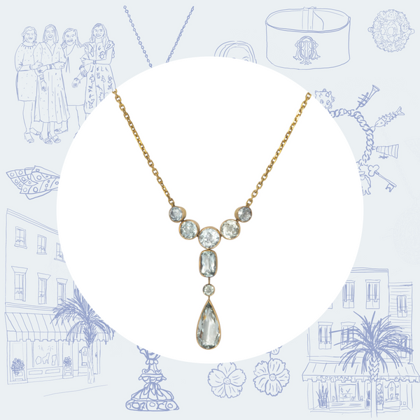 Edwardian Aquamarine Pendant Necklace