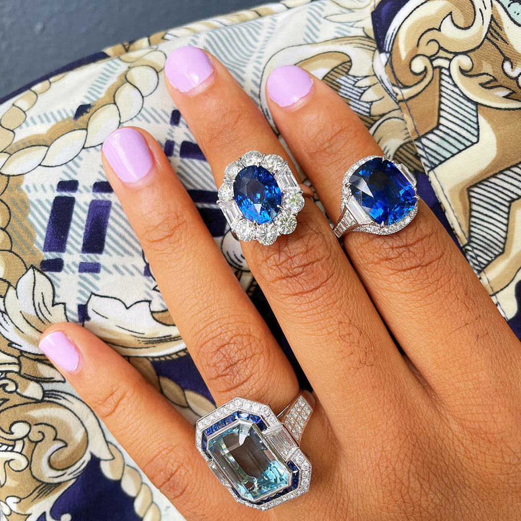 Blue Sapphire and Diamond Rings Styled