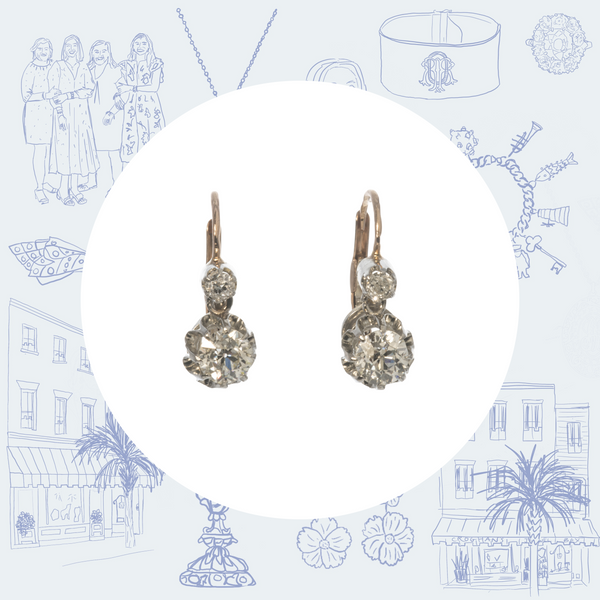 Victorian 2-Stone Diamond Drop Earrings