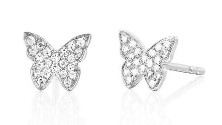 EF Collection Diamond Butterfly Stud Earrings
