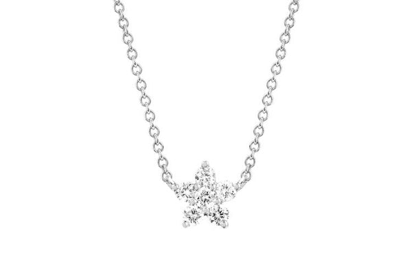 EF Collection Diamond Flower Pendant Choker Necklace