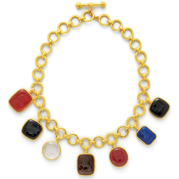 Elizabeth Locke Jewels Venetian Glass Intaglio Link Necklace