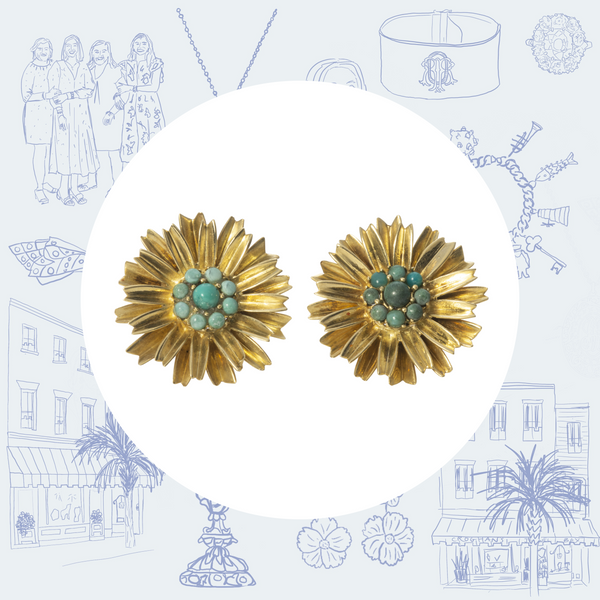 Estate Turquoise and Gold Flower Earrings