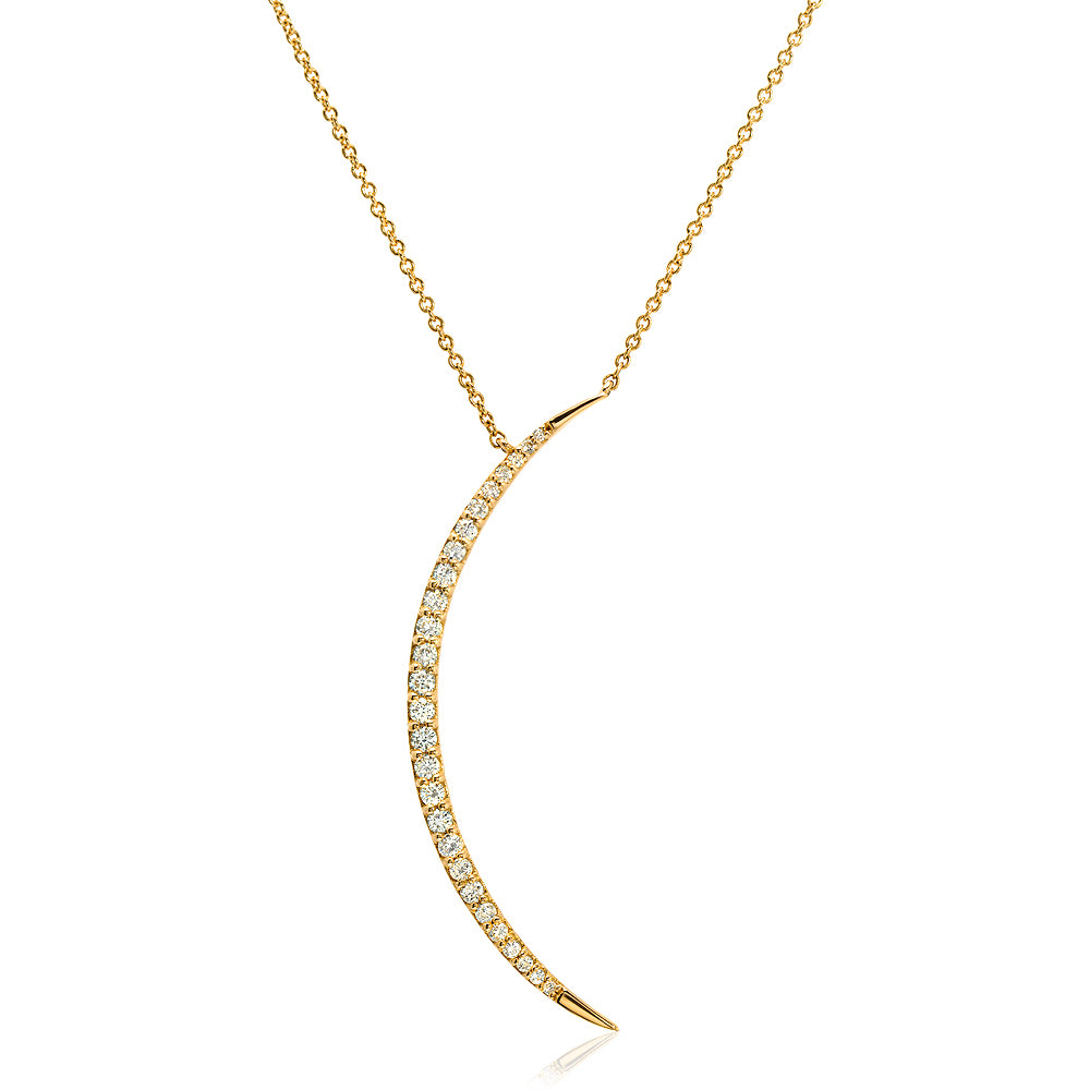 Diamond Crescent Moon Pendant Necklace