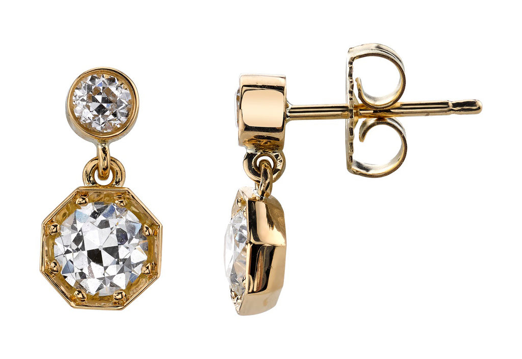 Single Stone Old European Cut Diamond Earrings