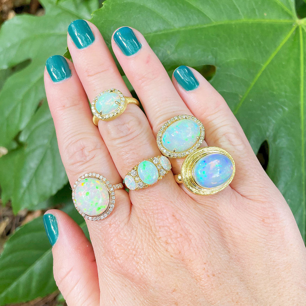 Cabochon opal rings styled