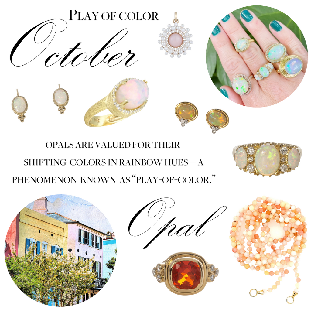 October Opals are valued for their shifting colors in rainbow hues.