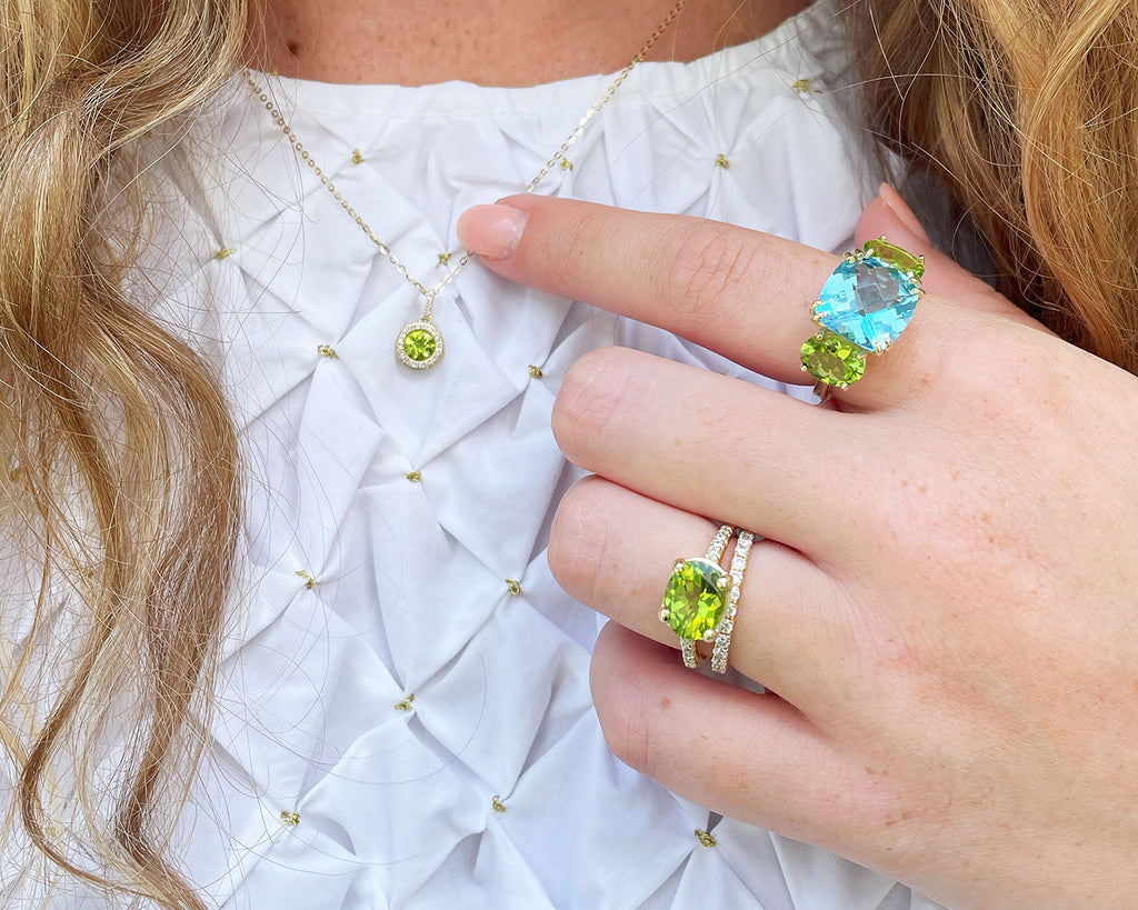 Peridot rings and necklace styled