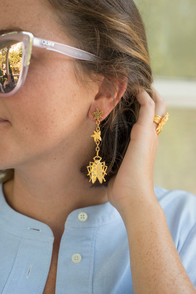 Goldbug Collection Shining Star Drop Earrings and Ring