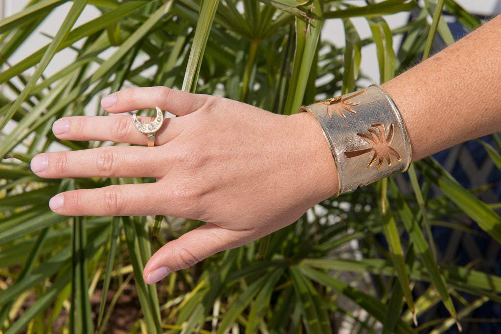 Goldbug Collection Crescent Moon Ring and Palmetto Cuff