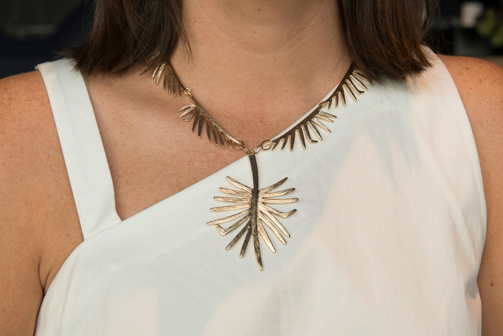 Goldbug Collection Palmetto Frond Pendant Link Necklace