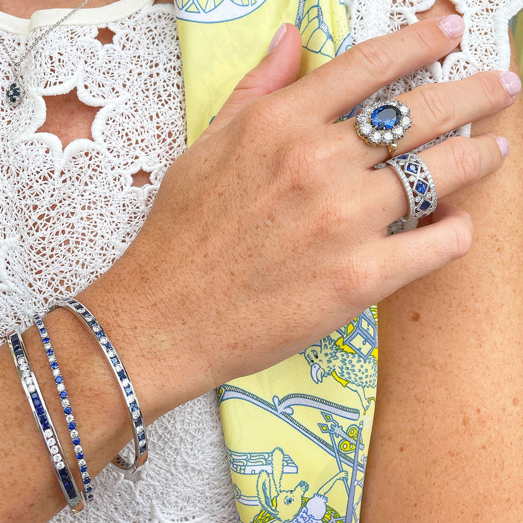 Sapphire rings and bangles styled