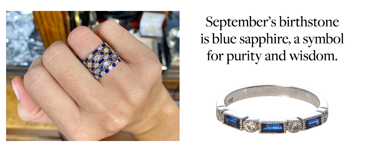 September's birthstone is blue sapphire, a symbol for purity and wisdom.