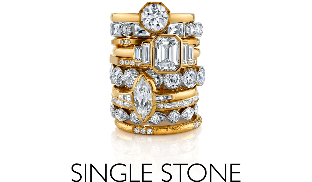 Single Stone assorted ring stack
