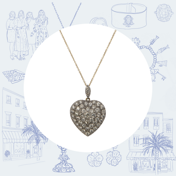 Victorian Diamond Pave Heart Pendant Necklace