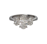 Oval Diamond 3-Stone Platinum Engagement Ring