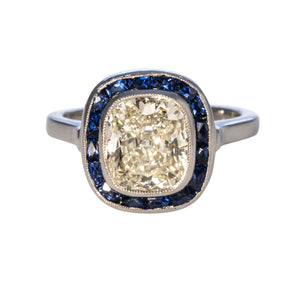 Estate 2.92ct Cushion Diamond & French Cut Sapphire Platinum Ring