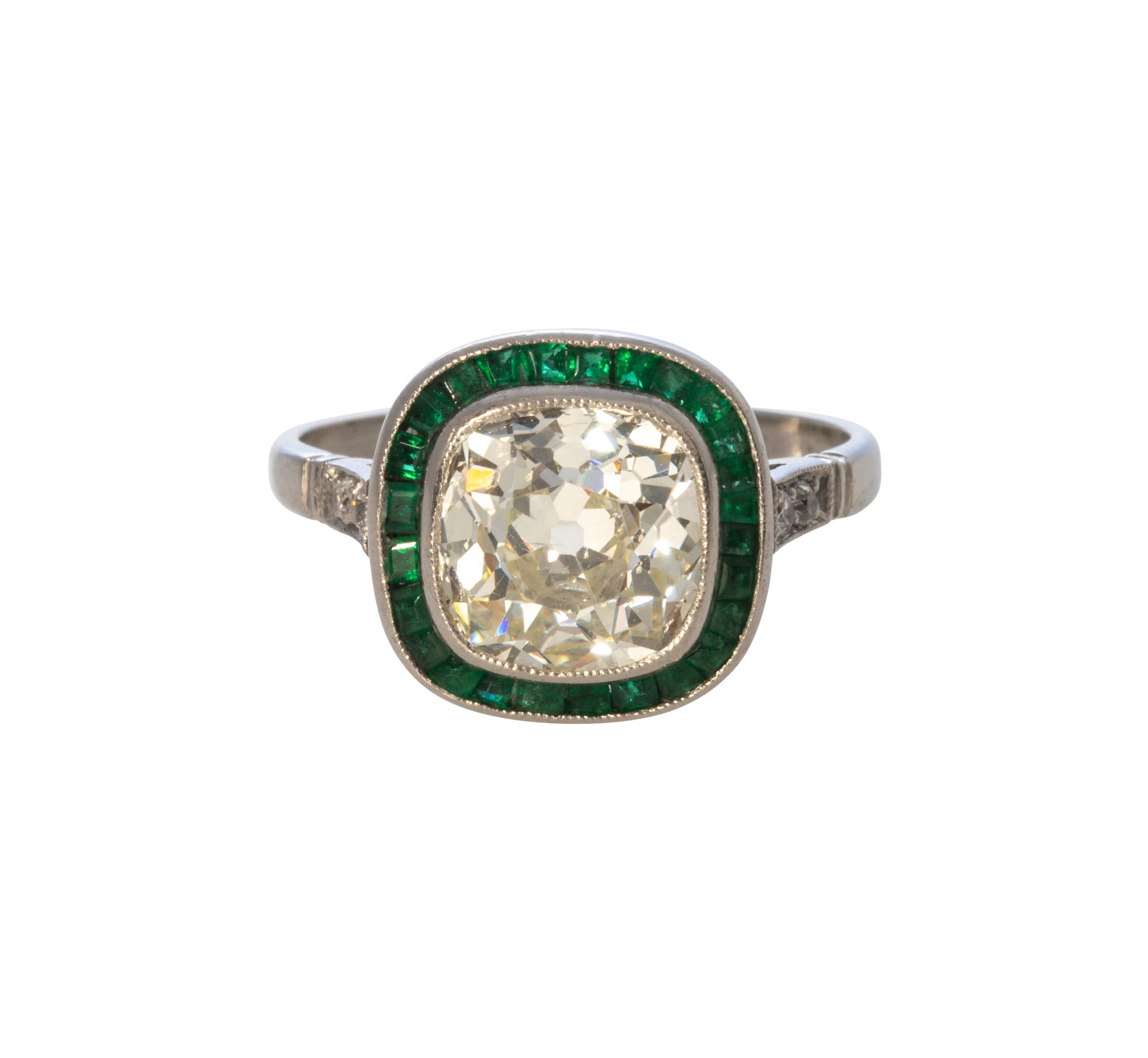 Estate 2.84ct Old Mine Diamond & French Cut Emerald Platinum Ring