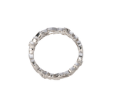 Floral Micropavé Diamond White Gold Eternity Band