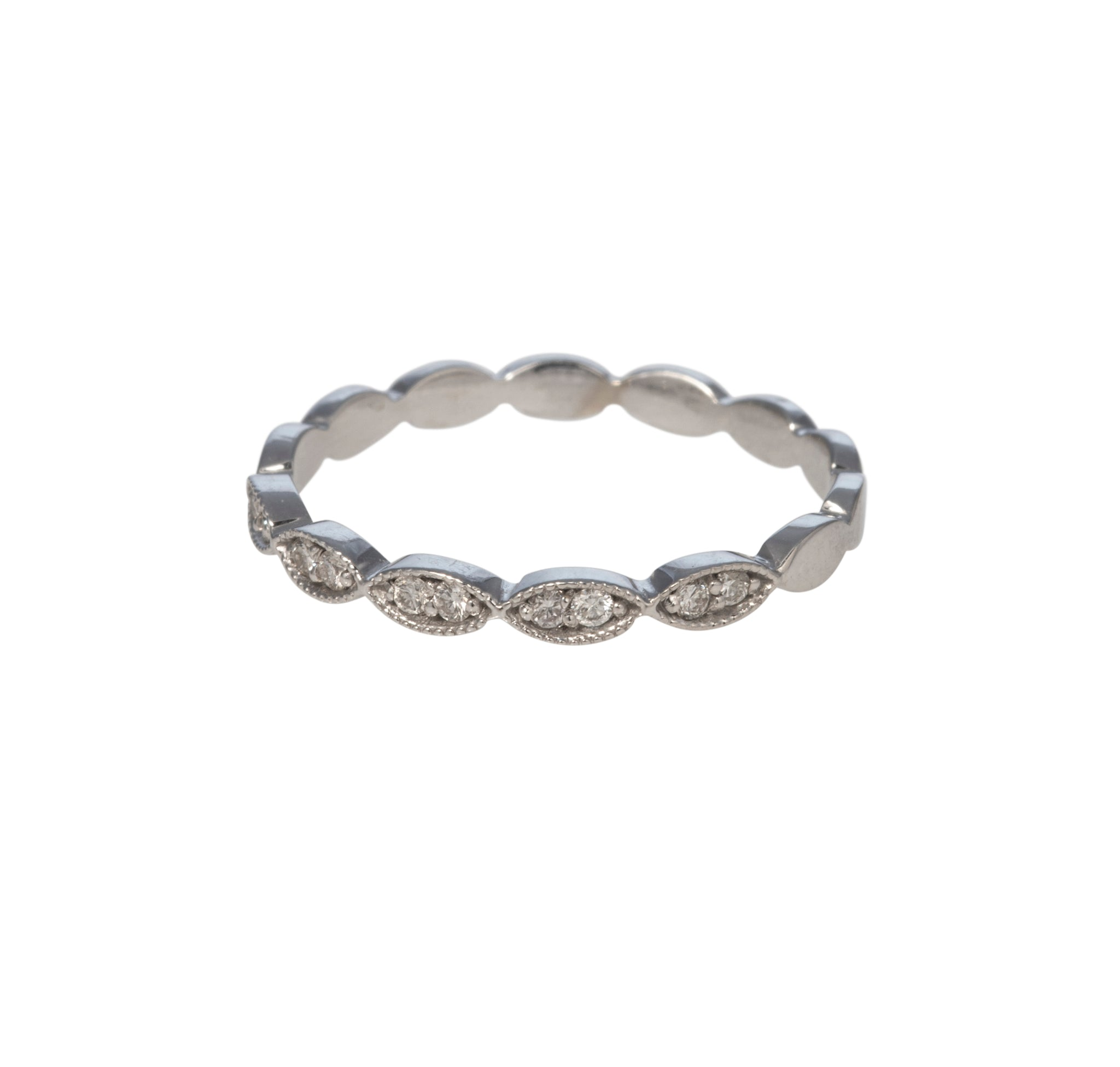 Diamond Halfway Marquise 14K White Gold Band