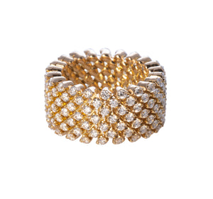 7-Row Diamond & Yellow Gold Multi-Size Band