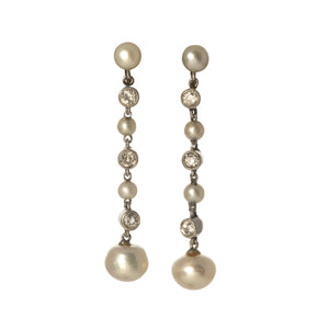 Edwardian Pearl & Diamond Drop Platinum Earrings