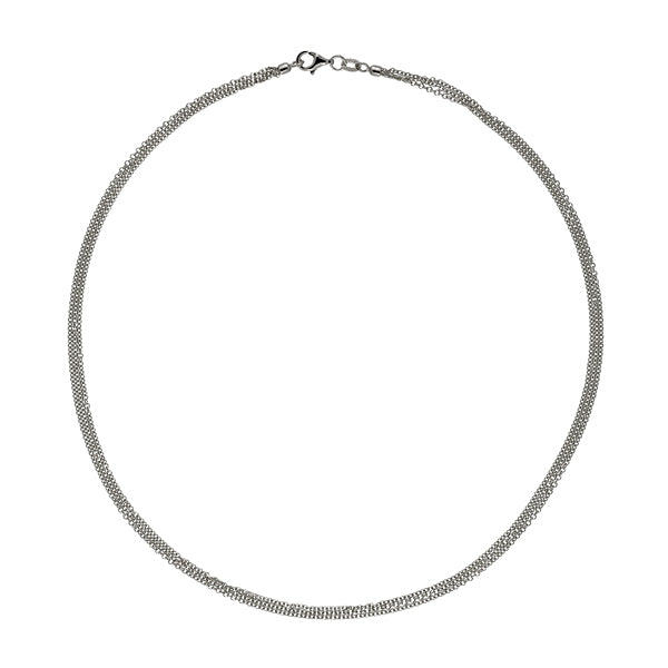 14K White Gold 3-Strand Cable Chain Necklace