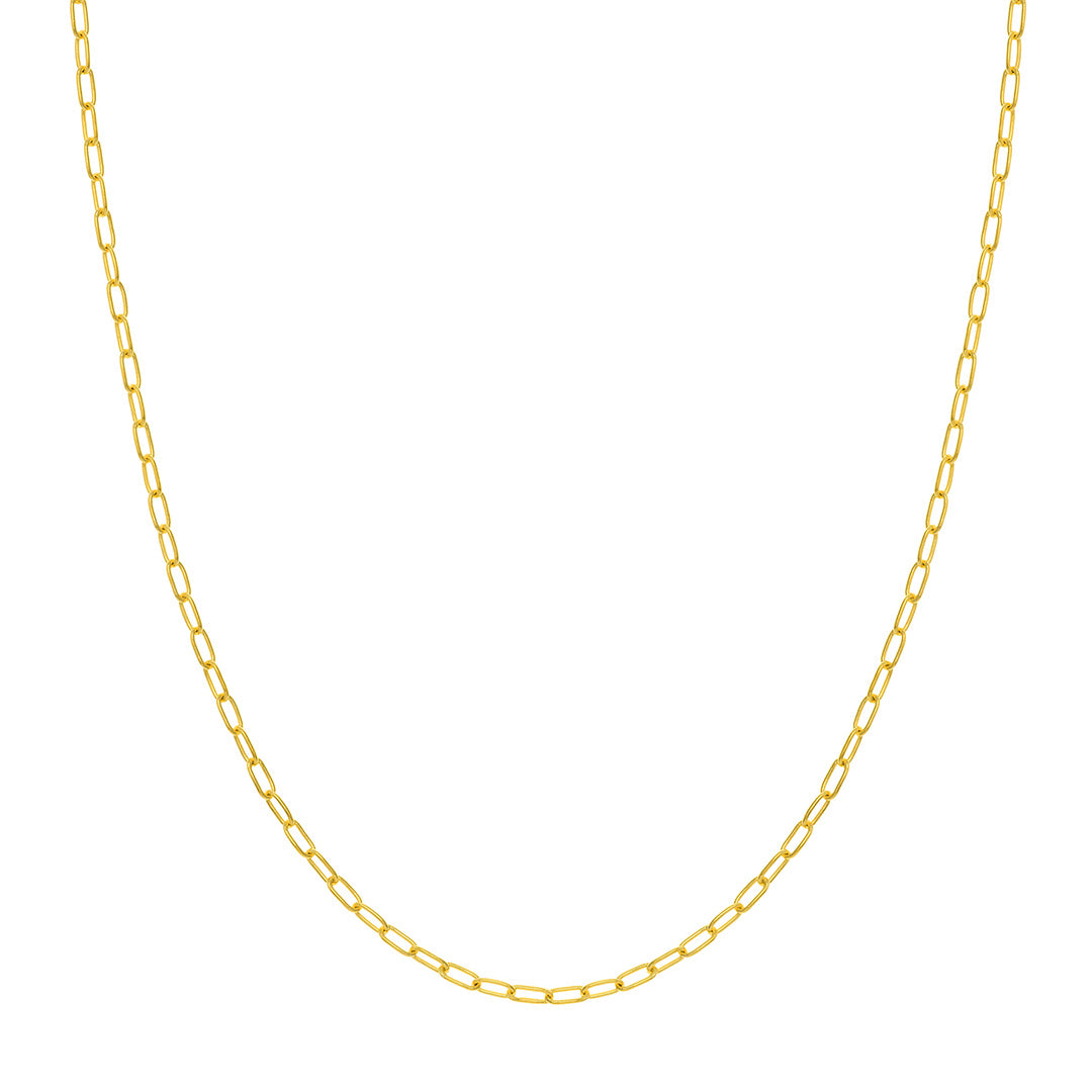 14K Yellow Gold 2.45mm Paperclip Chain Necklace 20""