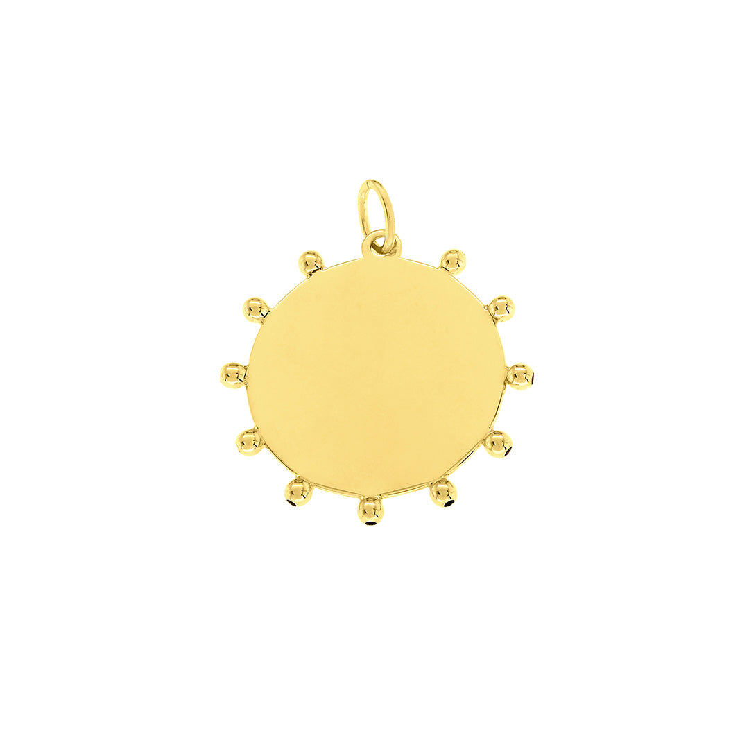 A polished 14K yellow gold disc charm or pendant with surrounding gold bead accents. Diameter: 20mm