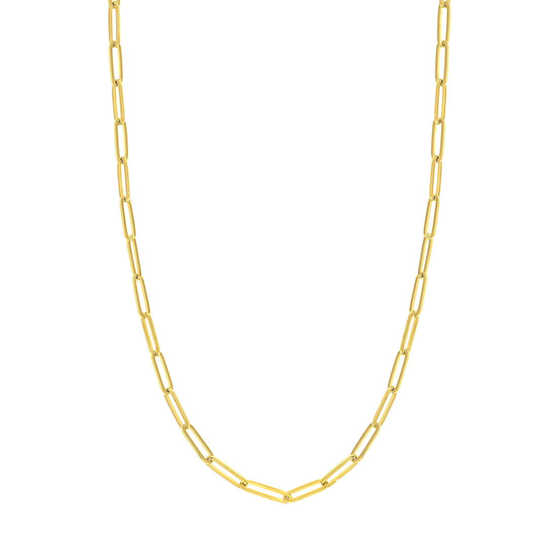 14K Yellow Gold 3.8mm Paperclip Chain Necklace 24""