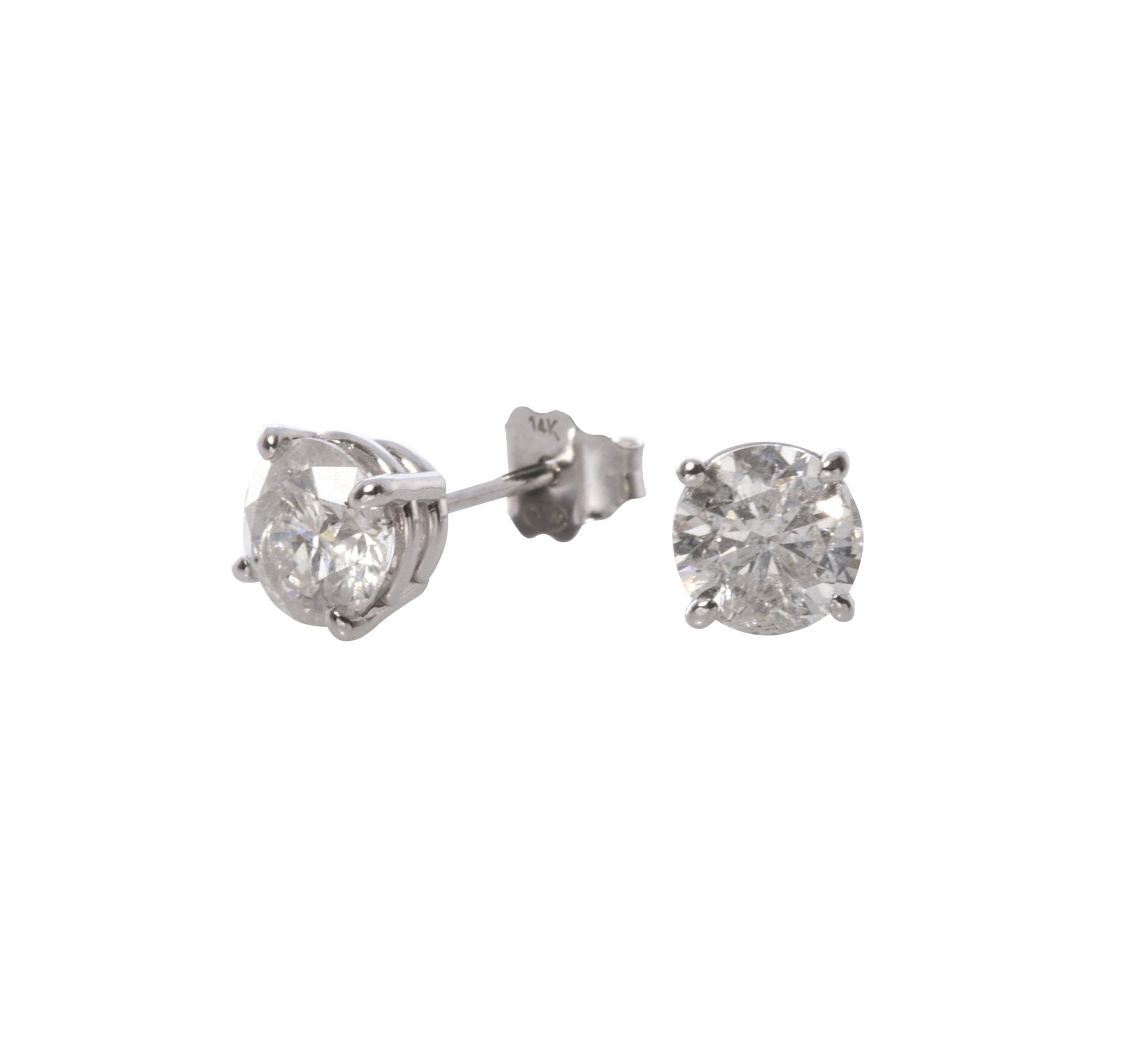 1.41ct Colorless Diamond 14K Gold Stud Earrings
