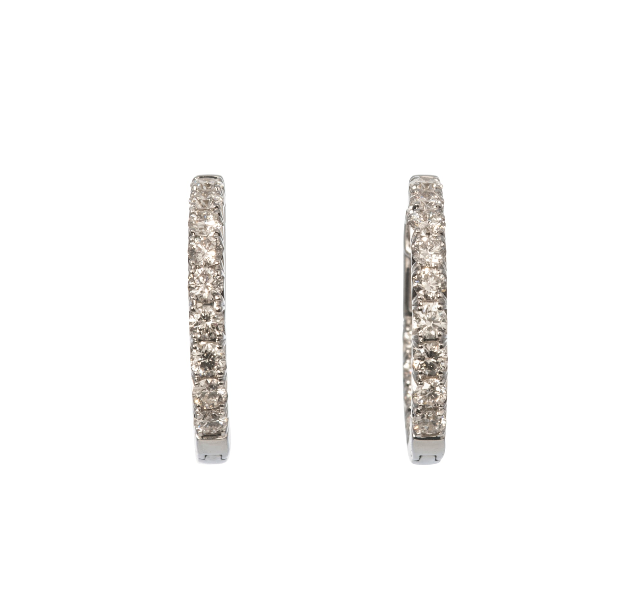 1.01ct Diamond 14K White Gold Hoop Earrings